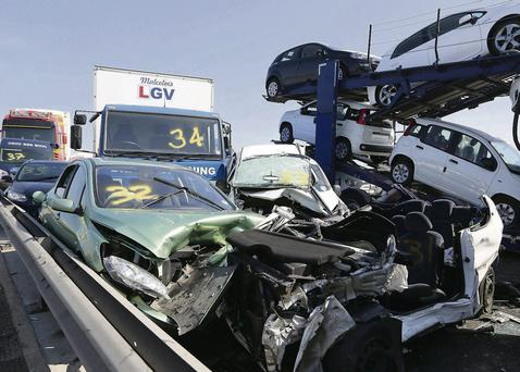 The twisted wreckage after the pile-up that continued for 10 minutes on the Sheppey bridge in Kent
