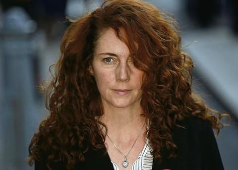 Former 'News of the World' editor Rebekah Brooks outside the Old Bailey, London, yesterday on the first day of her trial