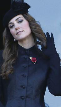 Kate Middleton, Duchess of Cambridge, attends the Remembrance Sunday ceremony in London. REUTERS