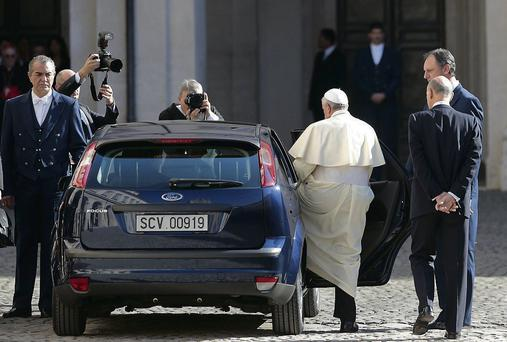 Pope Francis after meeting Italy's President Giorgio Napolitano.