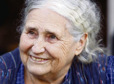 Doris Lessing outside her London home in October 2007 after she won the Nobel Prize for Literature.