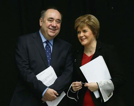 Scotland's First Minister Alex Salmond, and deputy First Minister Nicola Sturgeon, at the launch of the referendum white paper on independence in Glasgow.