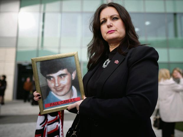 Donna Miller, the sister of Paul Carlile who died at Hillsborough, outside the inquest into the 1989 tragedy that claimed 96 lives.