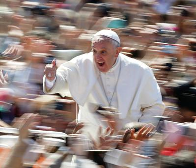 Pope Francis yesterday gives the thumbs up during Easter Sunday Mass at the Vatican. Photo: Reuters/Tony Gentile