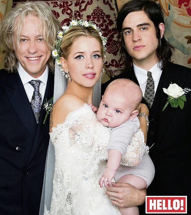 Peaches Geldof with her father Bob, husband Tom Cohen and son Astala on her wedding day.