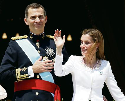 Spain's new King Felipe VI and Queen Letizia on the Royal Palace balcony in Madrid.