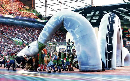 An inflatable Nessie at the Commonwealth Games.