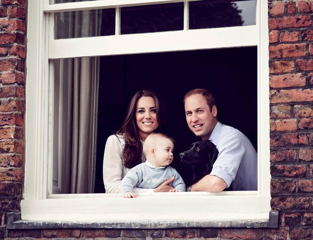 Prince WIlliam with son George and wife Kate.