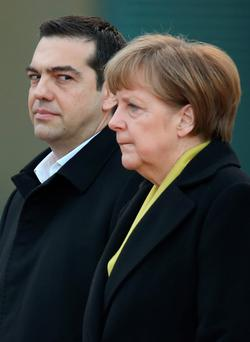 German Chancellor Angela Merkel and Greek Prime Minister Alexis Tsipras in Berlin