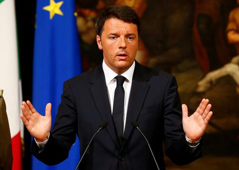 Italian Prime Minister Matteo Renzi during a news conference in Rome