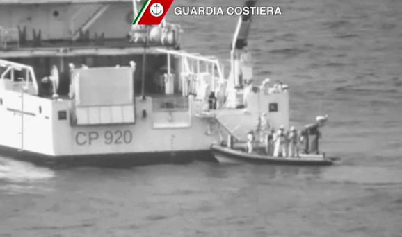 An Italian Coast Guard vessel carries out a search and rescue operation in the Mediterranean Sea south of the Italian island of Lampedusa yesterday