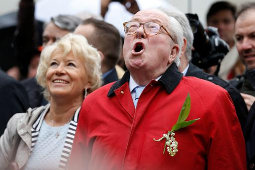 Jean-Marie Le Pen, founder and honorary president of the far-right party Front National, at the foot of a statue of Joan of Arc during the party's annual May Day rally in Paris