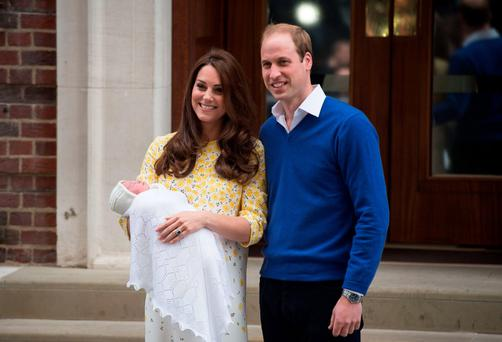 Prince William and the Duchess of Cambridge show their newly-born daughter outside the Lindo Wing at St Mary's Hospital in central London.