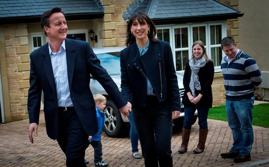 David Cameron visits the new Highwoods housing development in Lancaster with his wife Samantha where they met residents.