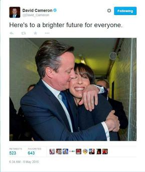 Winner takes all: The Twitter feed of David Cameron and his wife Samantha after learning of his victory early yesterday.