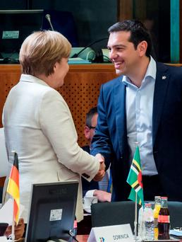 German Chancellor Merkel and Greek Prime Minister Alexis Tsipras