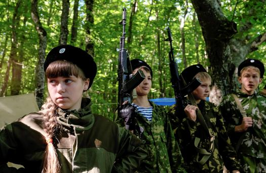 Students of the General Yermolov Cadet School get ready for a field training outside the southern city of Stavropol, Russia. Students aged from 10 to 17 took part in this exercise.
