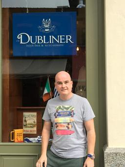 Ken Hickey, from Templeogue, outside his bar 'The Dubliner' which he is due to open in Thessaloniki, Greece