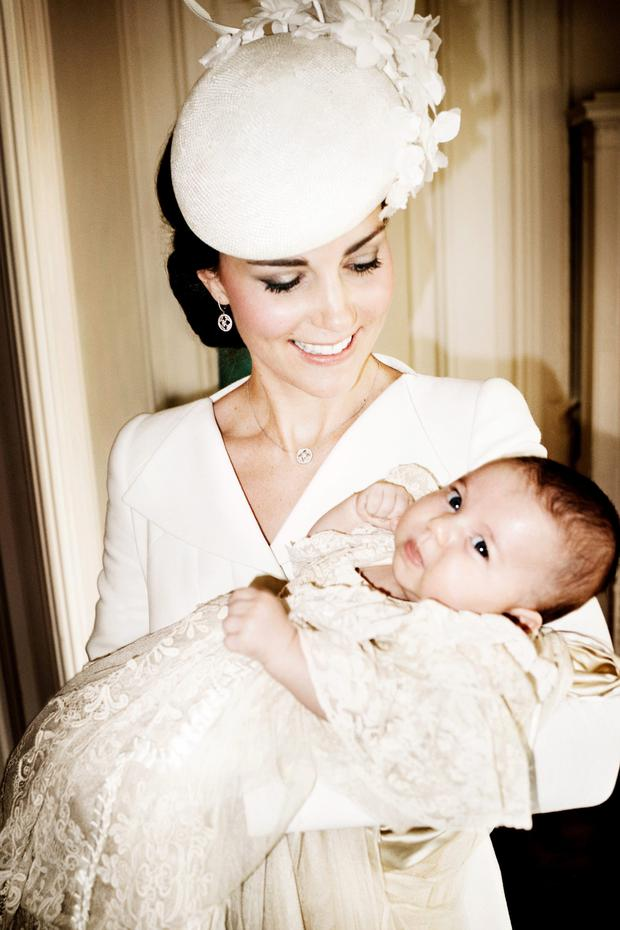 Kate Middleton and her daughter Charlotte in the official christening portrait