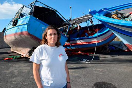 Project coordinator of MSF (Medici Senza Frontiere) in Sicily, Dr Chiara Montaldo, with the boats left at the port of Pozzallo