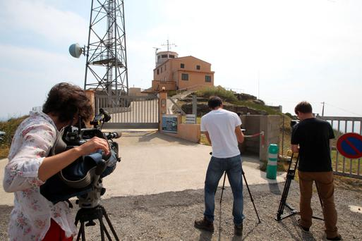Journalists at the scene of the intended attack