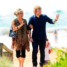 Ed Sheeran, with Emily Symons, on the set for Home And Away.