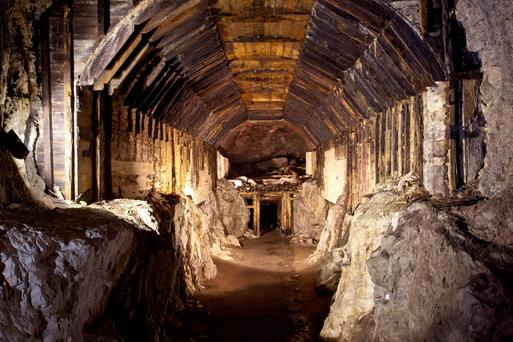 A tunnel which forms part of a subterranean system built by Nazi Germany in what is today Gluszyca-Osowka, Poland