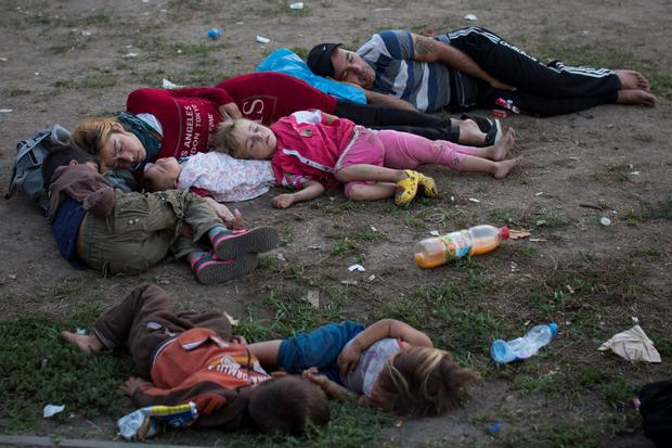 Refugees sleep in a park in Belgrade, Serbia, while waiting for an opportunity to travel north to cross the border with Hungary and enter the EU