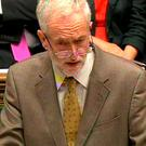 British Labour leader Jeremy Corbyn in the House of Commons yesterday