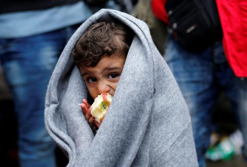 A migrant child eats an apple as he waits at the border crossing with Croatia, near the village of Berkasovo, Serbia