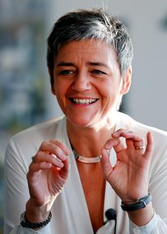 IRON LADY: European Competition Commissioner Margrethe Vestager speaks during an interview with Reuters at the EU Commission headquarters in Brussels, Belgium