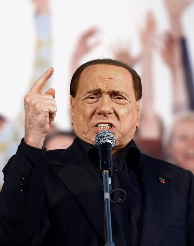 Forza Italia party leader Silvio Berlusconi speaks during a Northern League rally in Bologna