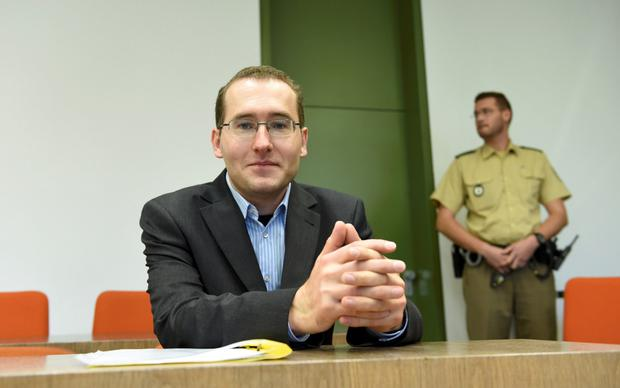 Defendant Markus R at the start of his trial in Munich