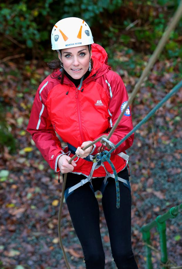 The Duchess of Cambridge abseiling during a visit to the Towers Residential Outdoor Education Centre in Capel Curig, North Wales