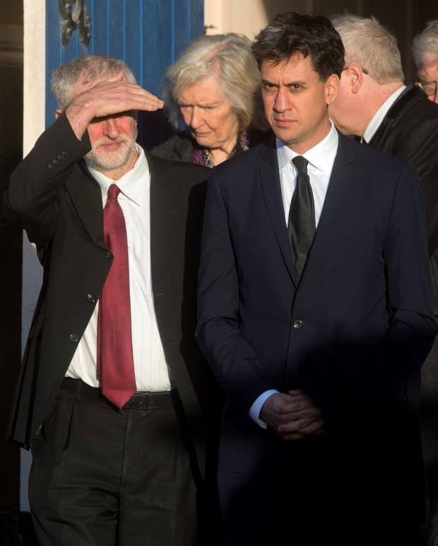 Labour leader Jeremy Corbyn (left) and his predecessor Ed Miliband leave after attending the funeral of former Labour MP Michael Meacher last week.