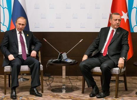 Russian President Vladimir Putin, left, and Turkish President Recep Tayyip Erdogan earlier this month.