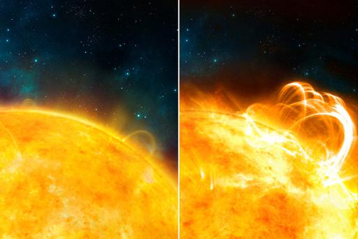 An artists impression composite issued by the University of Warwick of the 'quiet' Sun, with no solar flares (left) and what the Sun might look like if it were to produce a