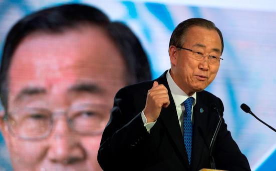 UN General Secretary Ban Ki Moon delivers a speech during the COP 21 United Nations Climate Change Conference in Paris
