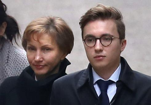 Marina Litvinenko, the wife of former Russian spy Alexander Litvinenko, arrives with her son Anatoly at the Royal Courts of Justice, London Photo: PA