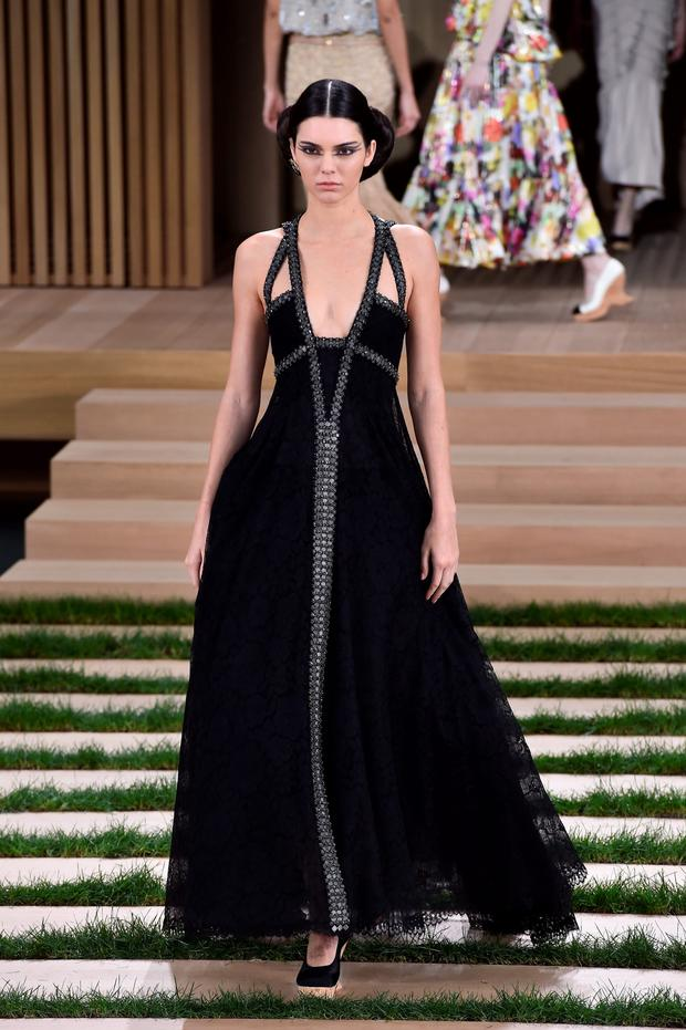 Kendall Jenner at the Chanel show as part of Paris Fashion Week. Photo: Getty