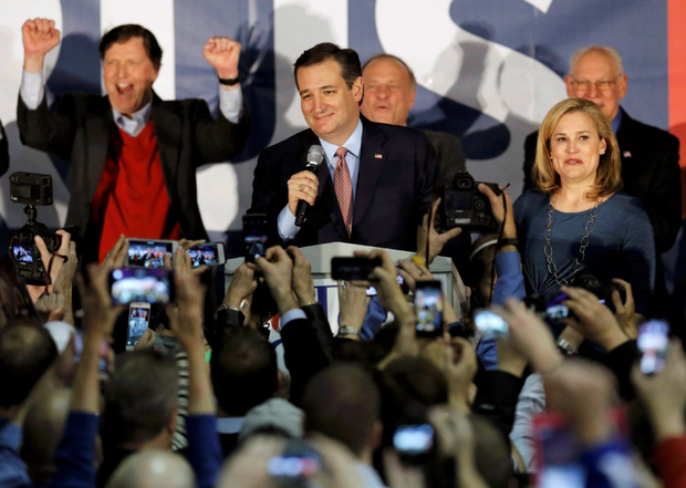 Ted Cruz speaks, with his wife Heidi Cruz by his side, after winning at his Iowa caucus night rally in Des Moines, Iowa.