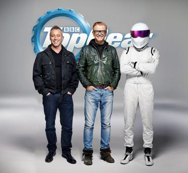 Friends actor Matt LeBlanc with Chris Evans and The Stig, as LeBlanc is to be one of the new presenters of Top Gear, the BBC said Photo: PA