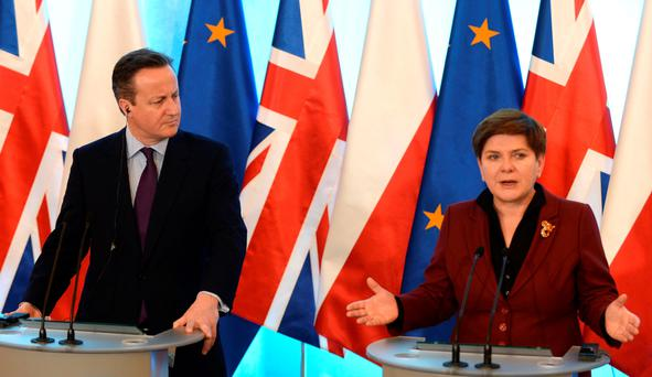 Polish Prime Minister Beata Szydlo (R) and British Prime Minister David Cameron hold a press conference in Warsaw.