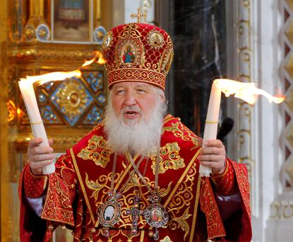 Patriarch of Moscow and all Russia Kirill leads an Orthodox service in the Christ the Saviour Cathedral in Moscow