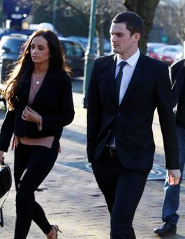 Adam Johnson arrives with girlfriend Stacey Flounders at Bradford Court. Photo: Andrew Yates