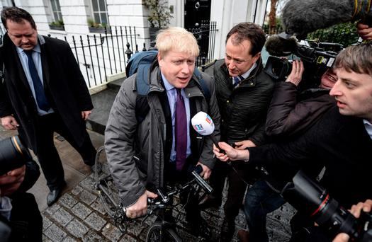 Boris Johnson meets reporters after his announcement that he would back a Brexit