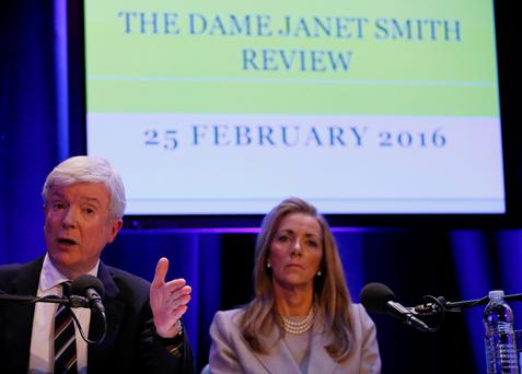 Tony Hall, Director-General of the BBC, (left) and Rona Fairhead, Chairman of the BBC Trust, talk to reporters (PA)