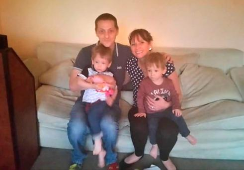 Mervyn Scott and Sarah Aitken with their twins Rhys and Shaun Scott who drowned in a fishpond in Dalgety Bay, Fife