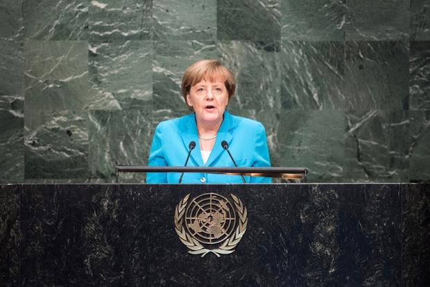 Angela Merkel, Chancellor of Germany, addresses the United Nations summit for the adoption of the post-2015 development agenda.
