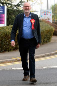 Labour party leader Jeremy Corbyn arrives at the English Institute of Sport in Sheffield to congratulate Labour candidate Gill Furniss on winning the parliamentary by-election